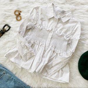 English Factory White Ruffled Dress Shirt
